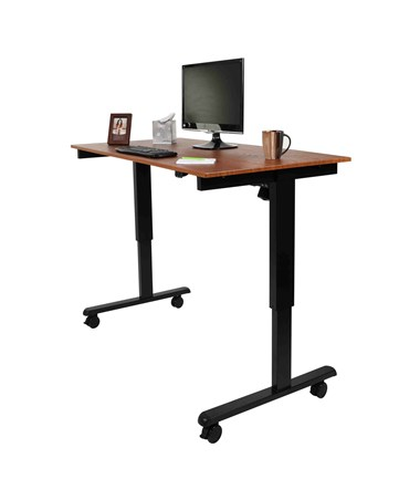 "Luxor 60"" Electric Standing Desk Black Frame and Teak Top STANDE-60-BK/TK"