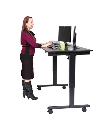 "Luxor 60"" Electric Standing Desk Black Frame and Black Oak Top STANDE-60-BK/BO"