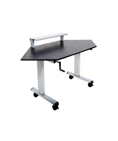 """Luxor 60"""" Crank Adjustable Standing Corner Desk LUXSTANDUP-CCF"""