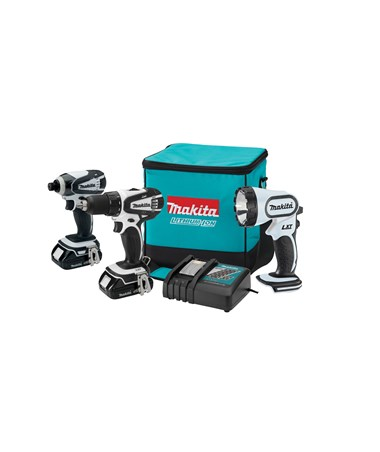Makita LCT300W 18V Compact Lithium-Ion Cordless 3-Pc. Combo Kit LXFD01CW, BTD142HW, BML185W MAKLCT300W