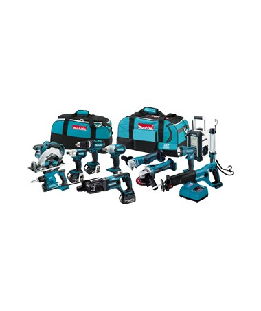 Makita LXT1200 18V LXT Lithium-Ion Cordless 12-Pc. Combo Kit  BHP452Z, BSS611Z, BJR182Z , BTD141Z , BGA452Z , BTW251Z , BHR241Z , BDA350Z, BFS450Z, BML184 , BML185 , BMR100W MAKLXT1200