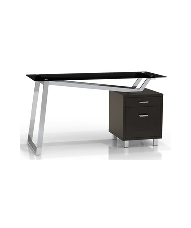 Mayline SOHO V-Desk with Black Glass Top MAY1001VG