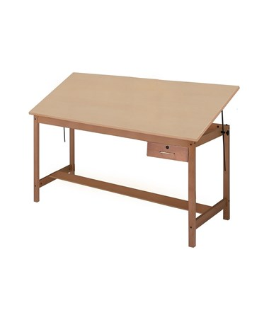 "Mayline Wood Four-Post Drafting Table, 60""L With Tool Drawer MAY7706A"