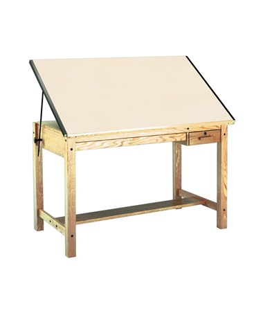 "Mayline Wood Four-Post Drafting Table, 60""L With Tool and Shallow Drawers MAY7706B"