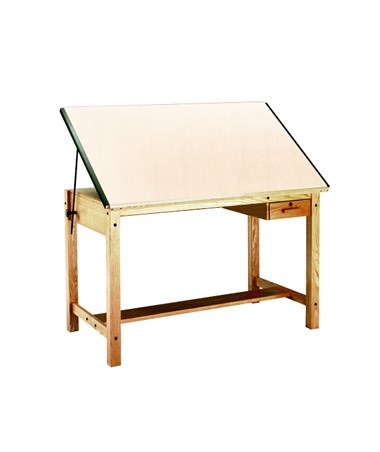 Mayline Drawing Table with Tool Drawer Naturalist Oak 7706A
