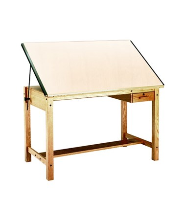 Mayline Ranger Drafting Table with Tool Drawer MAY7706A Natural Oak