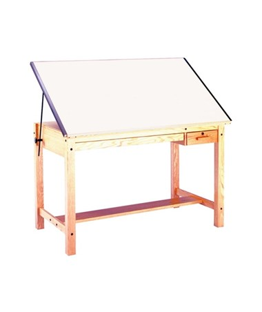 Mayline Drawing Table with 2 Drawers Unfinished Oak 7706B
