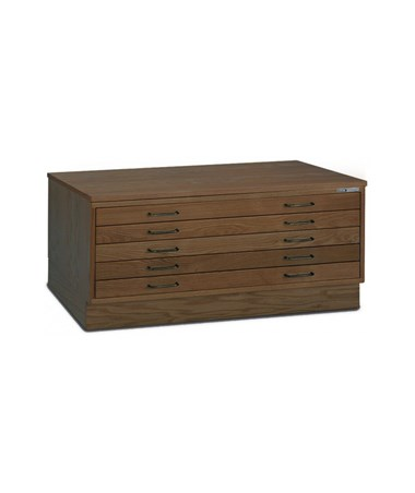 Mayline 5-Drawer Wood Plan File Golden Oak with Optional Cap and Flush Base