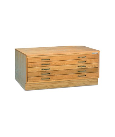 Mayline 5-Drawer Wood Plan File Natural Oak with Optional Cap and Flush Base