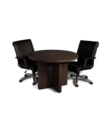 Mayline Aberdeen Series 42-Inch Round Conference Table with Chairs MAYACTR42 Mocha