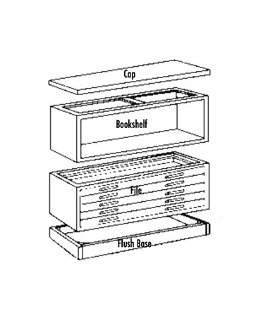 The Mayline Wood Plan File comes in 3 components (each sold separately): the base, the drawer unit, and the cap.