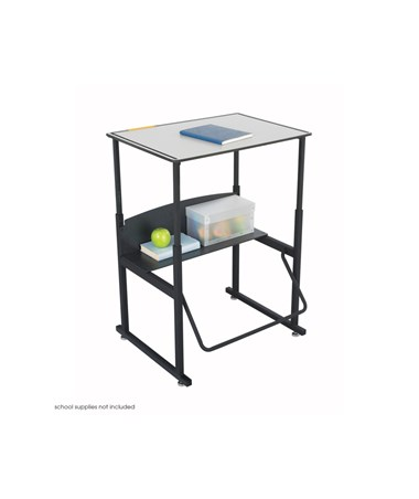 Safco AlphaBetter Adjustable-Height Desk, Premium Top and Swinging Footrest Bar 1203GR