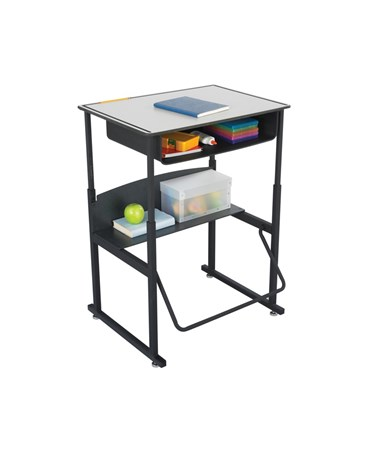 Safco AlphaBetter Adjustable-Height Desk, Premium Top With Book Box 1204GR