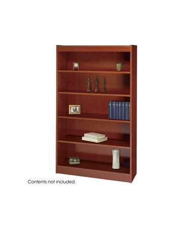 SAFCO1504CY-5-Shelf Square-Edge Veneer Bookcase Cherry SAF1504