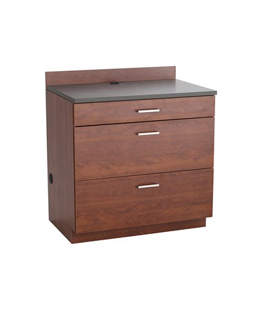 Safco Hospitality Base Cabinet, Three Drawer, Mahogany 1703MH
