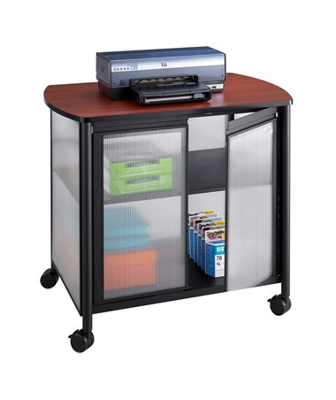 SAFCO1859GR-Impromptu® Deluxe Machine Stand with Doors Gray SAF1859GR
