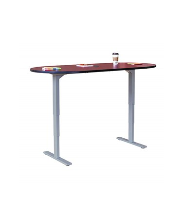 "Safco 72""W x 36""D Electric Height-Adjustable Teaming Table Cherry Top/Gray Base 2544CYGR"