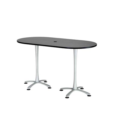 "Safco Cha-Cha Bistro-Height Racetrack Conference Table 72""W x 36""D Asian Night/Metallic Gray Base 2550ANSL"