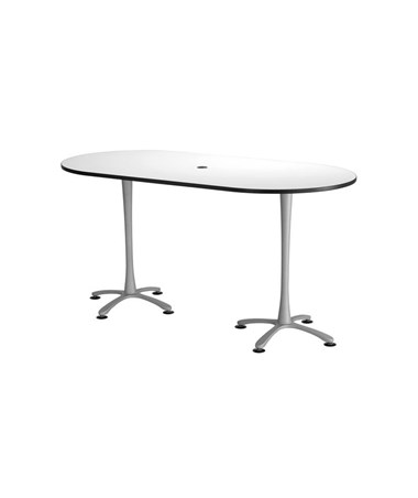 "Safco Cha-Cha Bistro-Height Racetrack Conference Table 84""W x 42""D White/Metallic Gray Base 2553DWSL"