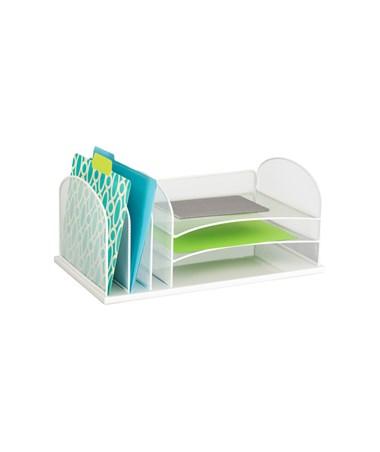Safco Onyx 3 Horizontal/3 Upright Organizer, White 3254WH