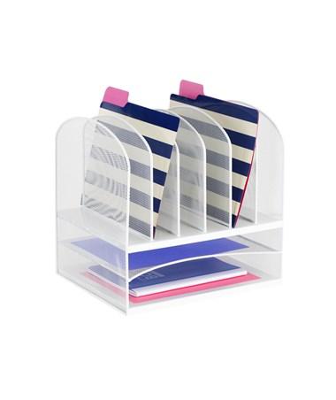 Safco Onyx 2 Horizontal/6 Upright Organizer, White 3255WH