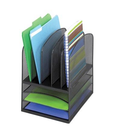 SAFCO Onyx™ Mesh Desk Organizer 3 Horizontal/5 Upright Black SAF3266BL