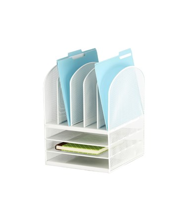 Safco Onyx Mesh Desk Organizer 3 Horizontal 5 Upright SAF3266WH
