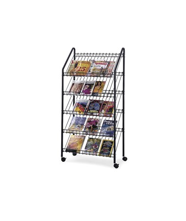 Safco Mobile Literature Rack, Charcoal SAF4129CH