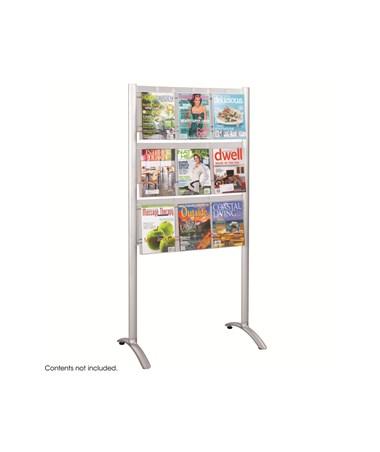 SAFCO4135SL-Luxe™ Magazine Floor Rack - 9 pocket Sliver SAF4135SL