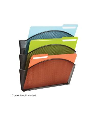 SAFCO4175BL-Onyx™ Magnetic Mesh Triple File Pocket (Qty.6) Black SAF4175BL