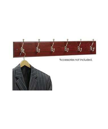 Safco 6-Hook Wood Wall Rack (Qty. 6), Mahogany SAF4217MH
