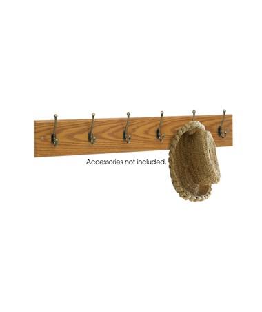 Safco 6-Hook Wood Wall Rack (Qty. 6), Medium Oak SAF4217MO