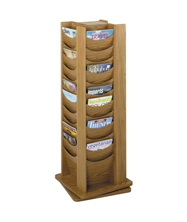 Safco 48-Pocket Solid Wood Rotating Display Rack, Medium Oak SAF4335MO