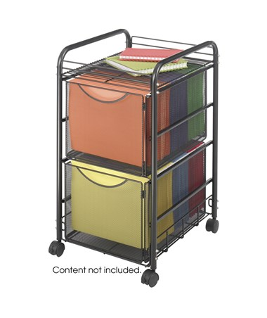 Safco Onyx Mesh File Cart with 2 File Drawers SAF5212BL