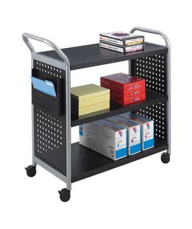 Safco Scoot Black Utility Cart - 3 Shelves SAF5339BL