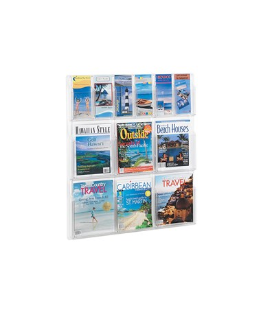SAFCO5606CL-Reveal™ 6 Magazine and 6 Pamphlet Display Clear SAF5606CL