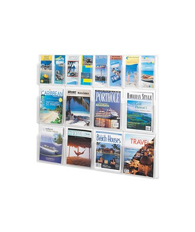 SAFCO5611CL-Reveal™ 8 Magazine and 8 Pamphlet Display Clear SAF5611CL