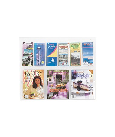 SAFCO5666CL-Clear2c™ 3 Magazine and 6 Pamphlet Display Clear SAF5666CL