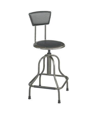 Safco Diesel Industrial High Base Stool With Back, Pewter Color SAF6664