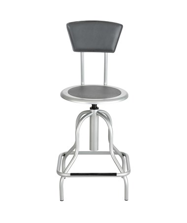 Safco Diesel Industrial High Base Stool With Back, Silver Color SAF6664SL