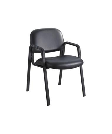 Safco Cava Urth Guest Chair Straight Leg, Black Vinyl 7046BV