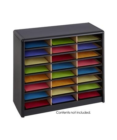 Safco Value Sorter Literature Organizer, 24 Compartment Black SAF7111BL