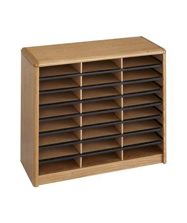 Safco Value Sorter Literature Organizer, 24 Compartment Medium Oak SAF7111MO