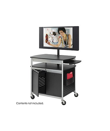 SAFCO8941BL-Scoot™ Flat Panel Multimedia Cart Black SAF8941BL