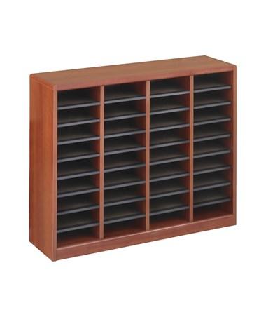 Safco E-Z Stor Wood Literature Organizer, 36 Compartments Cherry SAF9321CY