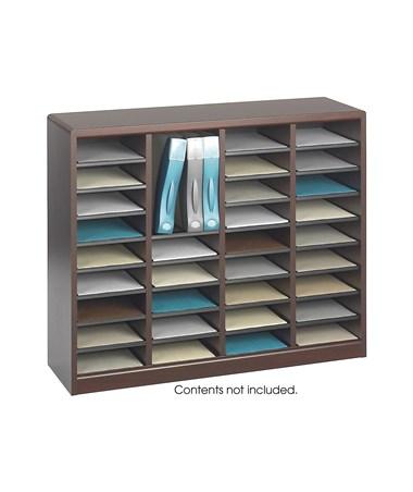 Safco E-Z Stor Wood Literature Organizer, 36 Compartments Mahogany SAF9321MH