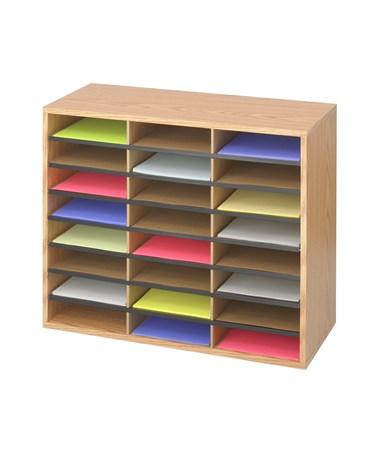 Safco Wood/Corrugated Literature Organizer, 24 Compartments SAF9402MO