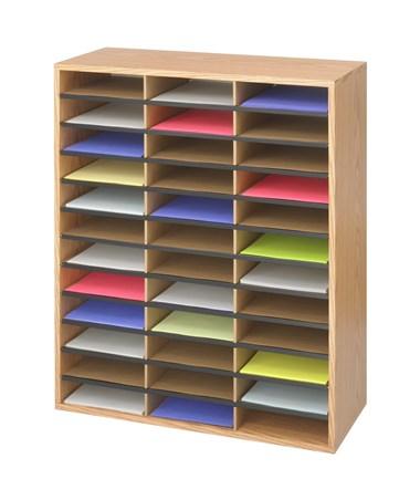 Safco Wood/Corrugated Literature Organizer, 36 Compartments SAF9403MO