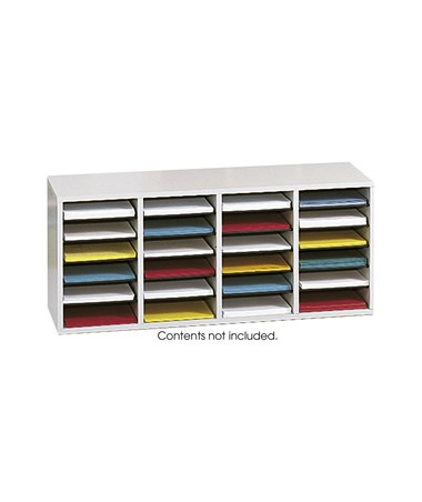 Safco Wood Adjustable Literature Organizer, 24 Compartments SAF9423GR