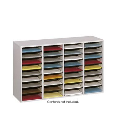Safco Wood Adjustable Literature Organizer, 36 Compartments SAF9424GR